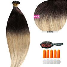 Keratin Bonding (#1b/24 Ombre) Hair Extensions 100% Echthaar Haarverlängerung