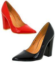Scarpe donna eleganti decolte a punta con tacco alto colore vernice
