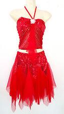 Mädchen Cheerleader-Kostüm/Uniform Fasching/Karneval/Cosplay Rot Gr.128-170