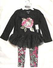 Limited Too Girls' Fashion Top and Leggings, darkest black 2 piece set