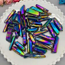 AB Colours Titanium Rainbow Aura Lemurian Quartz Crystal Point Healing No Hole
