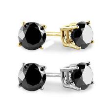 1 Ct Round Heat Treated Black Diamond 14K White Or Yellow Gold Studs Earrings