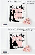 Mariage Vinyle Autocollant Pour boxframe Mr & Mrs Nom/Date De Mariage SILHOUETTE