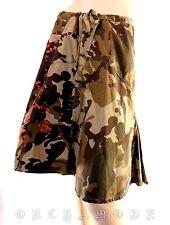 Jupe EMONITE marron beige 100% coton aux genoux Feuillage T 38 M 2 NEUF skirt