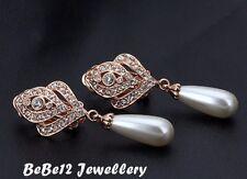 18KGP/Simulated Diamond/Large/Pearl Drop Clip/Earring/Wedding/Bridal/RGE323G