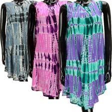 TIE DYE HIPPIE TUNIC TOP SUMMER FESTIVAL BOHO KAFTAN DRESS BEACH COVER UP
