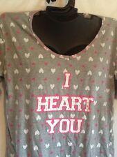 Lola 100% Cotton Soft Ladies Plus Dorm Sleep Shirt I Heart You Gray Grey Pink