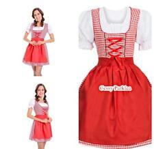 Traditional Bavarian German Leiderhosen Beer Maid Oktoberfest Costume Red