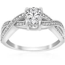 1 ct Diamond Infinity Twist Engagement Ring 1/2ct Center Stone 14K White Gold