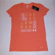 Under Armour Womens T-Shirt Orange Logo Short Sleeve