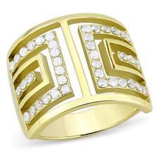 Tk3238pb chiave greca simulato DIAMOND RING oro in acciaio inox larga banda