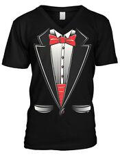 Tuxedo Formal Classy But Casual Red Bow Tie Dress Shirt Mens V-neck T-shirt