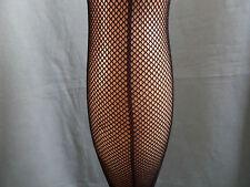 Silky scarlet fishnet tights nylons pantyhose back seam seamer seamed M L black