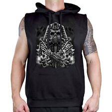 Men's Egyptian Gas Mask Black Sleeveless Vest Hoodie Workout Fitness Gym Biker