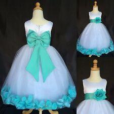 Aqua Big Bow Rose Petal Dress White Satin Tulle Flower Girl Wedding Easter #24