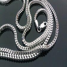10K Men's White Gold Franco Chain Necklace Box Cuben 40inch