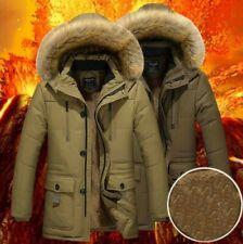 New Thick Parka Men Fleece Fur Hood Men Winter Coat With Fur Dark Green & Khaki