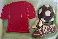 Hand-made Belgian Coloured Chocolate Football Shirt,Boot,Ball & Whistle Gift Box