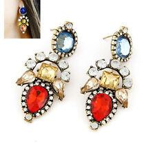 Fashion Classic Retro Crystal Rhinestone Statement Dangle Earrings Gift Box P58