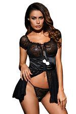 Sexy Black Satin Lace Babydoll Pom Pom Chemise Dress Lingerie Sleepwear Nightie