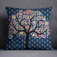 S4Sassy Dark Teal Blue Square Cushion Cover Tree Print Throw Pillow Case
