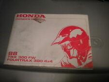 Honda Owners Owner's Manual 1988 TRX300 4X4