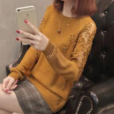 new Autumn winter Korean fashion Round collar Bright silk Knitting sweater coat