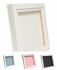 "White 3D 1"" Cube Range Deep Box Shadow Frame Memory Box Display Case Medals"