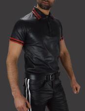 AW-659 Leder Polo shirt Nappa leder,Leather Shirt,leder hemd,Poloshirt Tank tops