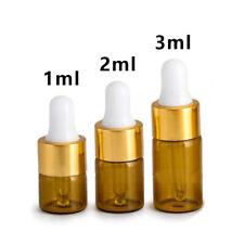 1/2/3 ML Verre Ambré Pipette Compte-Gouttes collyre huile Essentielle Bouteilles
