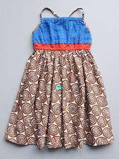 Eliane et Lena Blue and Brown Mod Print Toddler Girls Sundress