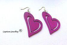 wooden earings orange purple hearts