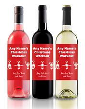 Personalised Funny Christmas Wine Label, gift idea, secret Santa - workout!