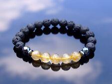Gold Rutilated/Lava Natural Gemstone Bracelet 6-9'' Elasticated Healing Stone