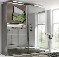 Staud Media Schwebetürenschrank Kleiderschrank mit TV Aussparung Spiegel 188 cm