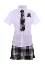 Traje colegiala japonesa gris escocesa blanco, corbata, cosplay