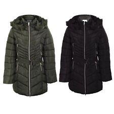 Señoras con cinturón de piel sintética con capucha con Cremallera Doble Abrigo Chaqueta acolchada caliente de invierno