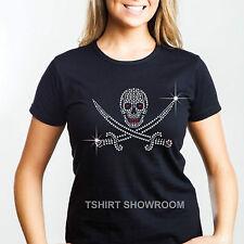 Skull and Swords Rhinestone / Diamante Embellished Ladies Halloween T shirt Gift