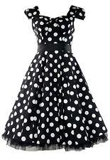 Ladies 40s 50s Vintage Big Polka Dot Bow Detail Rockabilly Swing Dress New 8-18