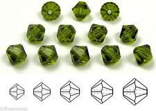 Czech MC Glass Bicone Beads (Rondell/Diamond) Olivine, olive green crystals