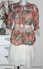 blusa larga MINA UK Vestido Talla M/38 XL 42 FUCSIA PASTEL ENCAJE FEMENINO