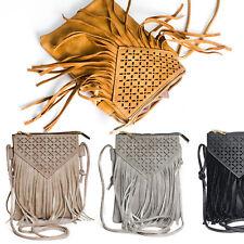Damen Tasche Schultertasche CrossOver Umhängetasche Ethno Fransen Cutout Muster
