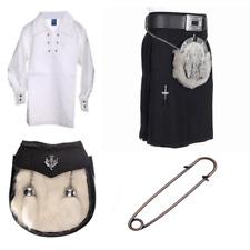 New kids plain noir 4 pièces acrylique kilt outfit avec kilt shirt pin & sporran