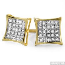 Vermeil 0.15ct Genuine Diamond Kite Stud Gold Earrings for Men