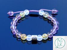 Libra Ametrine Citrine Birthstone Bracelet 6-9'' Macrame Healing Stone Chakra