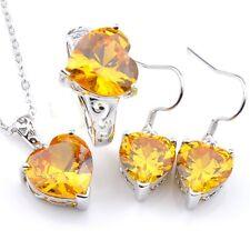 Best Jewelry Set 3Pcs Natural Golden Citrine Silver Heart Pendant Earrings Rings