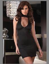 SEXY BLACK MINI DRESS CLUBWEAR 8-12  + THONG DANCER