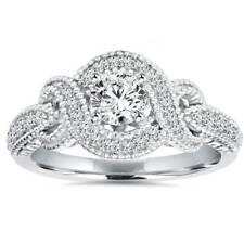 1/2Ct Vintage Diamond Infinity Engagement Ring 14K White Gold Antique