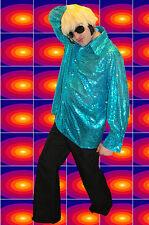 244✪ 70er Jahre Pailletten OberHemd Hippie Saturday Night Fever türkis Glam