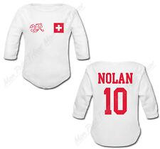 Body Bébé Football Maillot Suisse personnalisé avec prénom et numéro dans le dos